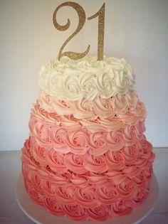 sugar | Gallery Coral ombre rosette cake