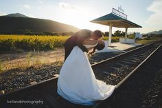 Photo by Kelland Photography Venue - Rickety Bridge Wine estate Bridal Couple -Olivia and Ross Rickety Bridge, Railroad Tracks, Wedding Venues, Wedding Photography, Wine, Bridal, Couples, Wedding Reception Venues, Wedding Places