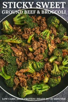 Sticky Sweet Ground Beef and Broccoli: A High Protein, Low Carb Recipe A simple one-pan ground beef and broccoli recipe that you can have on the table in minutes. Every serving has 20 grams of protein with just 10 grams of carbs and 5 WW SmartPoints! Ground Beef And Broccoli, Broccoli Beef, Broccoli Recipes, Healthy Chicken Recipes, Low Carb Recipes, Diet Recipes, Hamburger Recipes, Healthy Meal Prep, Healthy Foods To Eat