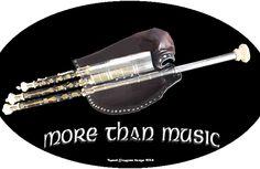 Uilleann pipes sticker for uilleann pipers : more than music. Autocollant pour uilleann piper (plusieurs couleurs).  Irish music.  Musique irlandaise