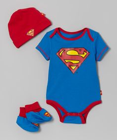 Red & Blue Superman Booties Set - Infant - just too adorable :)