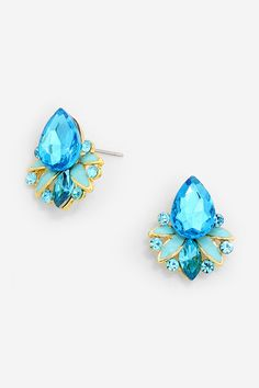 Stud Mia Chandelier Earrings on Emma Stine Limited, blue earrings, aqua blue earrings, jewelry, reminds me of looking into a crystal clear pool on a sunny day. You know the ones with the blue tiles or interior that makes the water sparkle this color?