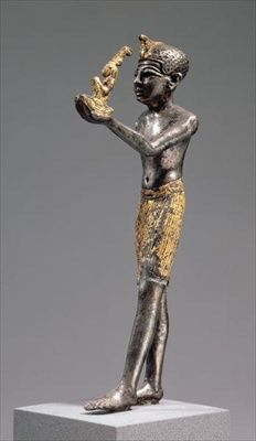 Pharaoh making an offering before the Goddess Maat, New Kingdom, 1303-1224 BC (silver with partial gilding)
