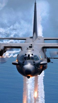 C-130 Hercules deploy flares US Air force Help celebrate a great career in the US Air force Personalized custom Air force rings : http://www.military-rings.com/airforce-rings/ #us #military #airforce #USMilitary