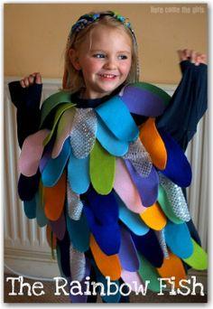 Girl wearing homemade rainbow fish costume