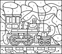 Steam Locomotive - Online Color by Number Page - Hard