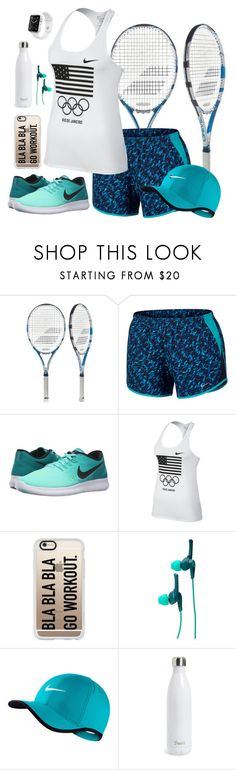 """""""Need 2 play tennis!!"""" by lulu15emma ❤ liked on Polyvore featuring Babolat, NIKE, Casetify, Skullcandy, S'well, Apple, tennis and feelingfit"""