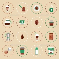 Coffee Flat Icons Set by macrovector Coffee flat icons set with coffee-bulb turk french press isolated vector illustration. Editable EPS and Render in JPG format