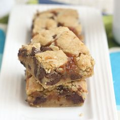 Salted caramel chocolate chip cookie bars from Tracey's adventures