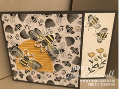 Golden Honey Bee stamps, dies and matching free Golden Honey papers combine to make this a combination fit for any royal queen bee. Honey Bee Hives, Honey Bee Stamps, Golden Pattern, Golden Honey, Bee Cards, Love Stamps, Queen Bees, Daffodils, Mini Albums