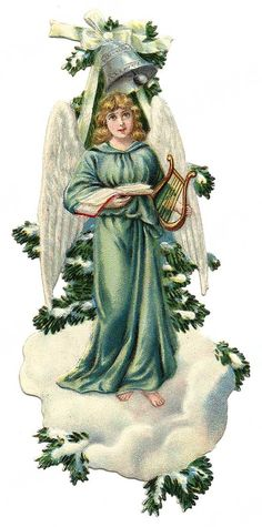 free vintage clip art downloads | free vintage Christmas images -- angel on frozen pine tree branch