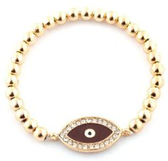 Ladies Metallic Gold with Brown Iced Out Evil Eye Style Beaded Stretch Bracelet JOTW. $2.95. 100% Satisfaction Guaranteed!. Great Quality Jewelry!