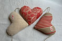 Trio of fabric hearts