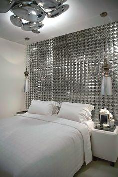 Ceramic 3D #Wall Cladding for interior PLATINUM KEOPS by DUNE CERAMICA #bedroom #metal #mosaic @Dune Ceramica