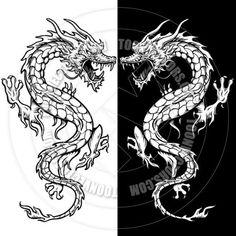 Chinese Dragon Tattoo Style Line Art by KoQ Creative   Toon Vectors EPS #42857