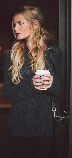 soft curls + long sweater + dark nails.