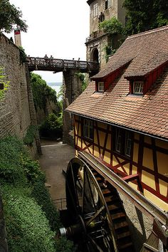 Old watermill near the city walls of Meersburg, southern Germany (by straightwanderer).