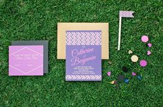 Colorful wedding invitation! // photo by Chelsey Boatwright Photography