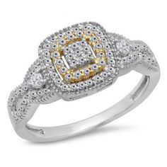 The perfect choice for that special woman, this diamond fashion ring makes a serious statement of style. Expertly crafted in 10K white & yellow gold, the eye is drawn to the squared center frame set with a composite cluster of shimmering round diamonds bordered with a double halo frame of smaller accent diamonds at the center of the style. A double row of accent diamonds dress the shank for extra sparkle. Elegant two round diamonds flank this center cluster, adding radiant appeal.