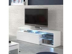 Meuble tv avec éclairage led QUINTANA blanc brillant Flat Screen, Living Room, Table Tv, Home Decor, Laque, Audio, Check, Tv Unit Furniture, Houses