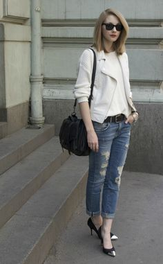cap toe heels and ripped jeans