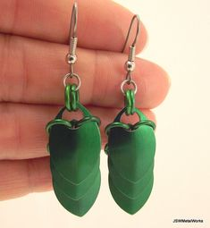 Sleek Green Small Scale Earrings Scalemail Scale by JSWMetalWorks, $20.00