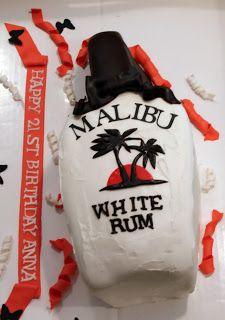 Malibu Bottle Fondant Cake