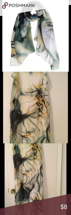 """Multicolored Printed Chiffon Scarf Shawl Elegant unique design chiffon scarf/shawl in colors of green, black, white, blue, yellow. Can be worn in many ways. Measures 23"""" W x 57"""" L. 100% polyester. New w/o tags, unbranded. Accessories Scarves & Wraps"""