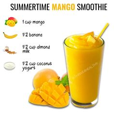 Mango Smoothie Recipes, Lunch Smoothie, Healthy Fruit Smoothies, Yummy Smoothies, Mango Smoothies, Energy Smoothies, Smoothie Diet, Iced Coffee Protein Shake Recipe, Snacks Saludables