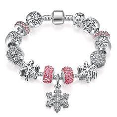 Presentski Charm Armband mit Schneeflocke Charms Daisy Bead Weihnachten Geburtstagsgeschenk für Frauen Mädchen