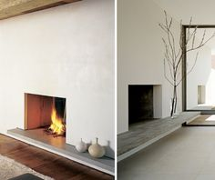 A roundup of minimalist hearths from members of the Remodelista Architect/Designer Directory. Above L: A stone ledge creates a display shelf in the Ten Bro