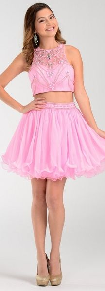Two Piece Set A-Line Short Prom and Cocktail Dress features Beading Embellished, Sleeveless Top with High Neckline and Round Cutout Back, Solid Color Multilayered Ruffle Skirt has Beaded Waistline. Flowy Prom Dresses, Pink Formal Dresses, Pink Prom Dresses, Formal Dresses For Women, 2 Piece Prom Dress, Chiffon Skirt, Fashion Dresses, Two Piece Skirt Set, Skirts