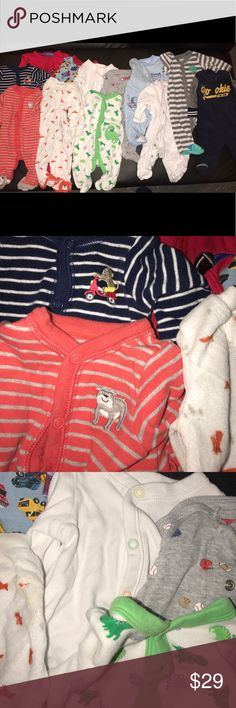 Big Lot of Baby Footies New Born 12 baby long sleeve footie pajamas in great almost New conditions. New Born size. Carters, Granimals, Children's Place Etc. Feel free to ask any questions. Open to reasonable offers One Pieces Footies