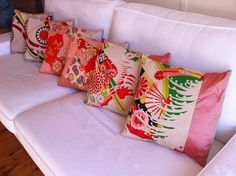 Kimono Cushions - We make cushions from vintage kimono silk Japanese Quilts, Japanese Fabric, Japanese Kimono, Kimono Fabric, Silk Kimono, Modern Kimono, Vintage Cushions, Japanese Interior, Vintage Kimono