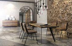 #Esstisch Myrna mit Stahlbeinen & Baumkante | COMNATA Esstisch #industrial #esszimmer