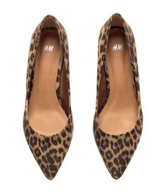 Leopard-print kitten heel pumps with pointed toes, and rubber soles. Heel height 2 in. | H&M Shoes