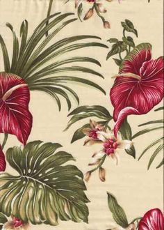 30lina Tropical Hawaiian orchid & anthurium flowers, cotton non-upholstery barkcloth fabric. Add Discount code: (Pin10) in comment box at check out for 10% off sub total at BarkclothHawaii.com