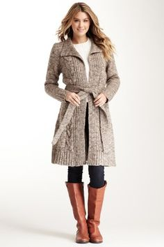 Love Stitch Long Open Front Belted Cardigan