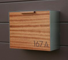 Modern Mailbox Large Mahogany and Stainless Steel by CeCeWorks