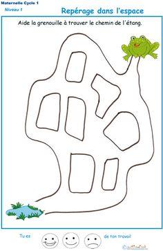 Imprimer l'exercice 2 pour apprendre le repérage dans l'espace en Petite Section de maternelle