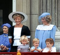 Balcony boy: The prince - with Lord Freddie Windsor, Diana and Zara Phillips, applauds at ...