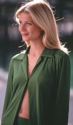Gwenyth Paltrow I Great Expectations Movie...I have always LOVED the use of Green throughout the movie. Every character is in green in every scene...does it represent envy? money? The director says that he just likes the color Green.