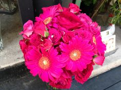 Bridesmaid Bouquets for Jill - Hot Pink Roses and Gerber Daisies