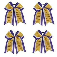 Cheerleading Hair Bows and Big Hair Bows. Great for pony tails and buns. Three Layer Girls Sequin Cheer Bows with Ponytail Holder for Cheerleaders Cheerleading Hair Bows, Cheer Hair Bows, Big Hair Bows, Toddler Hair Bows, Making Hair Bows, Bow Hair Clips, Cheerleading Stunting, Dog Bows, Baby Bows
