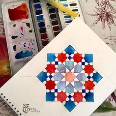Making patterns at the sea side! Using my trusted 24 colour palette from @winsorandnewton and a @kuretakezig water brush. Thanks to @samira.mian for the inspiration! #jeeamirza #Eid #pattern #islamicpattern #islamicart #islamicgeometricdesign #geometricart #watercolor #watercolours #aquarelle #winsorandnewton #kuretake #turquoise #seaside #egypt #northcoast #longbeach #zellij #moorish