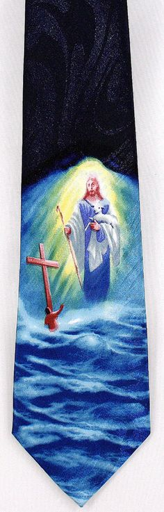 New Jesus Lamb of God Saves Mens Necktie Cross Christian Religious Blue Neck Tie #StevenHarris #NeckTie