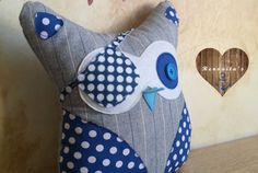 Pirate stuffed Owl kid's room decor  baby pillow  by Renouitas