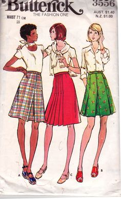 Butterick 3556 Pleated A Line Skirts Vintage Sewing Pattern Size 14 Waist 28 inches UNCUT Factory Folded