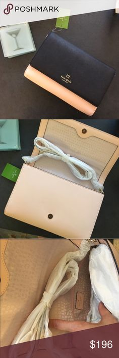"Kate Spade Two Tone Cross Body 6.5""h x 9.9""w x 1.6""d (in inches) drop length: 22""  Crosshatched leather 14-karat light gold plated hardware kate spade Bags Crossbody Bags"