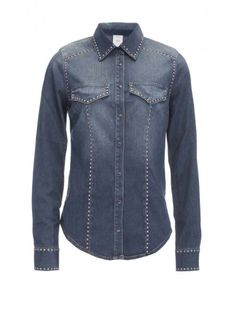 Pinko Micologia camicia jeans fluido blu